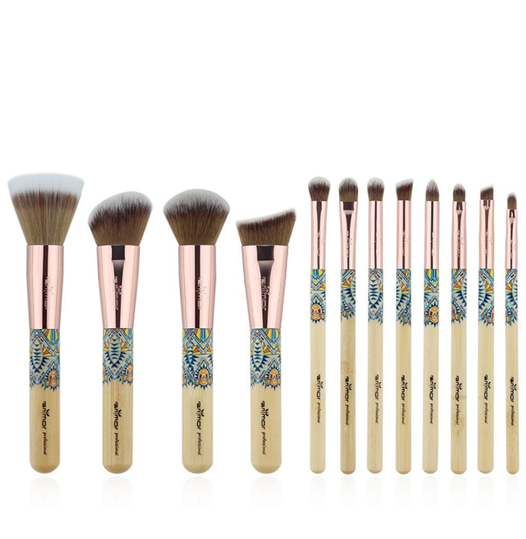 12 pinceaux professionnels à maquillage summer vibes teint yeux lèvres