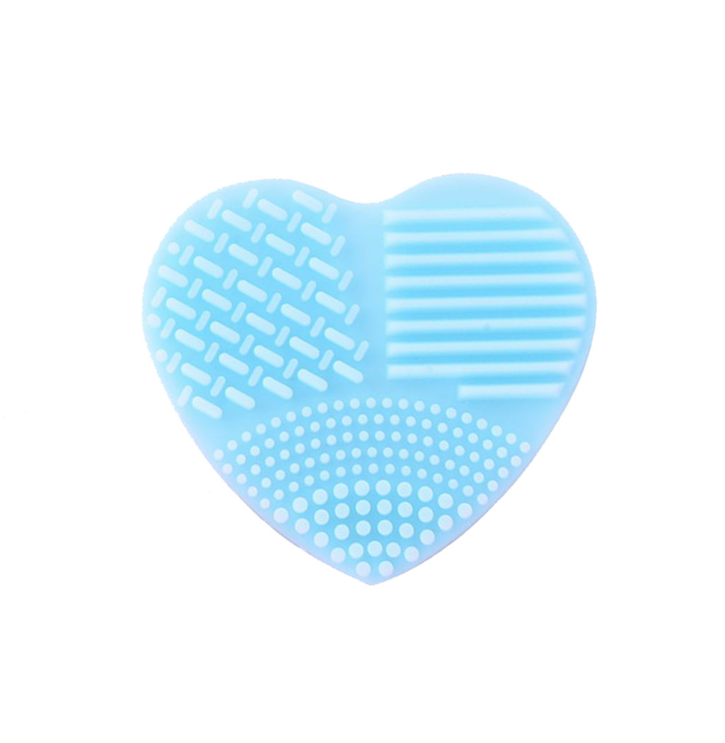 nettoyer pinceaux coeur silicone bleu